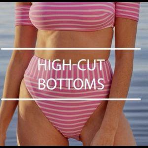 Aerie Pink Striped High Waisted Bikini set